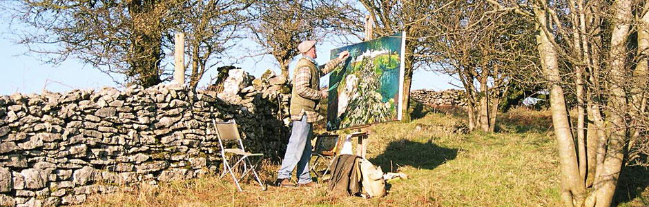 photo of Martin painting Dry Stone Wall Repairs