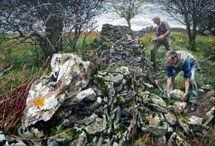 Image of people working on a dry stone wall