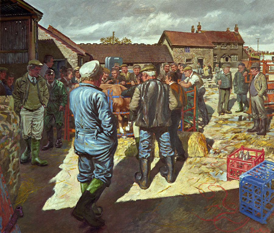 Image of a group of people at a farm sale