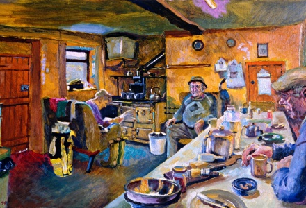 Image of a warm, comfortable kitchen with people sitting in it