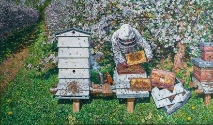 Painting of a beekeeper and hives